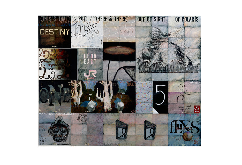 Imants Tillers   Drift of Destiny,  1995  oilstick, gouache, synthetic polymer paint on 122 canvasboards, nos. 41821 - 42002 304.8 x 381 cm Private Collection