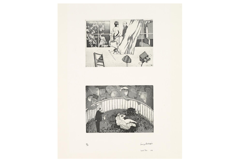 Imants Tillers and George Baldessin According to Des Esseintes 3, 1976 from the suite According to Des Esseintes etching and aquatint on arches paper printed by Pascal Giraudon in Nice, France 18.0 × 25.6 cm (plate) (top) 17.8 × 25.6 cm (plate) (bottom) 42.6 × 25.6 cm (comp.) 64.8 × 50.8 cm (sheet) Collections: National Gallery of Victoria, Melbourne; Art Gallery of New South Wales; National Gallery, Wellington, Queensland Art Gallery, Brisbane, National Gallery of Australia, Canberra