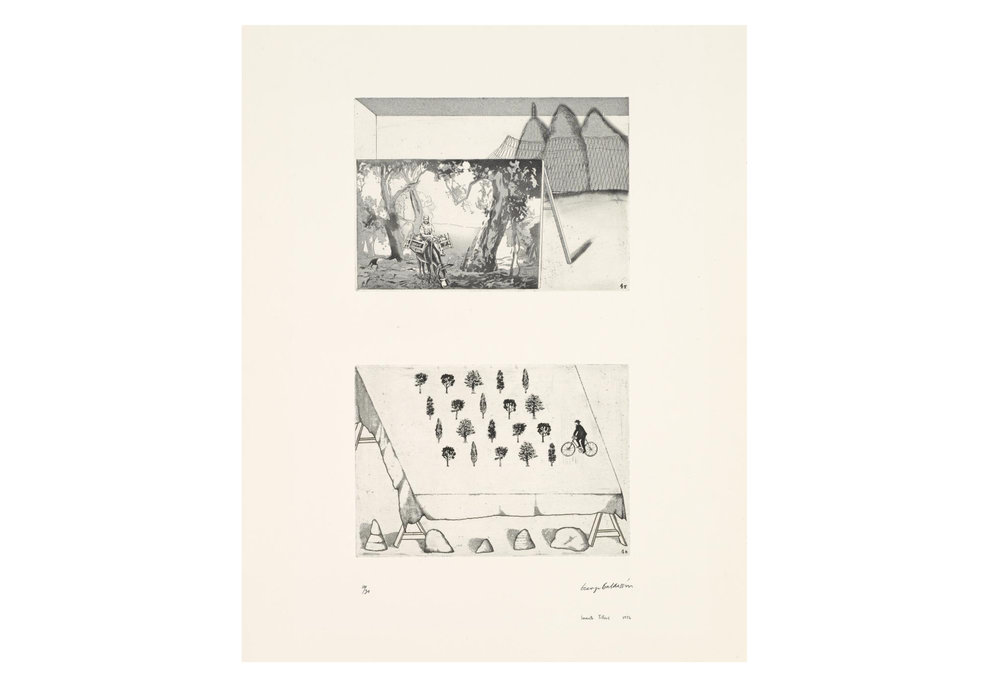 Imants Tillers and George Baldessin   According to Des Esseintes 4 , 1976  from the suite According to Des Esseintes etching and aquatint on arches paper printed by Pascal Giraudon in Nice, France 18.0 × 25.6 cm (plate) (top) 17.8 × 25.6 cm (plate) (bottom) 42.6 × 25.6 cm (comp.) 64.8 × 50.8 cm (sheet) Collections: National Gallery of Victoria, Melbourne; Art Gallery of New South Wales; National Gallery, Wellington, Queensland Art Gallery, Brisbane, National Gallery of Australia, Canberra