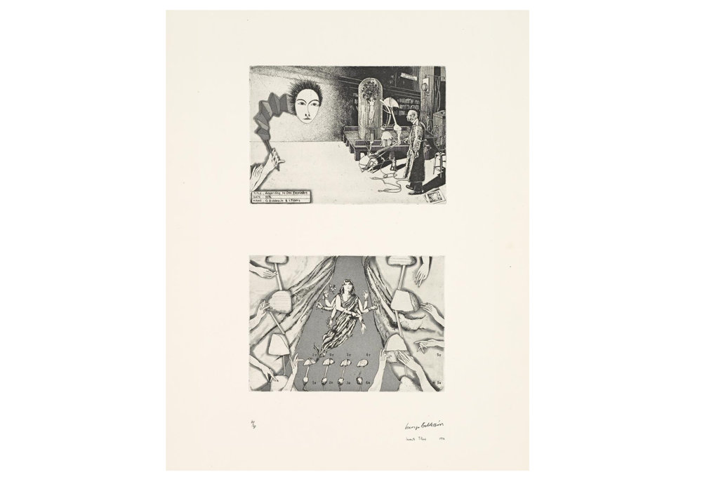 Imants Tillers and George Baldessin According to Des Esseintes 5, 1976 from the suite According to Des Esseintes etching and aquatint on arches paper printed by Pascal Giraudon in Nice, France 18.0 × 25.6 cm (plate) (top) 17.8 × 25.6 cm (plate) (bottom) 42.6 × 25.6 cm (comp.) 64.8 × 50.8 cm (sheet) Collections: National Gallery of Victoria, Melbourne; Art Gallery of New South Wales; National Gallery, Wellington, Queensland Art Gallery, Brisbane, National Gallery of Australia, Canberra