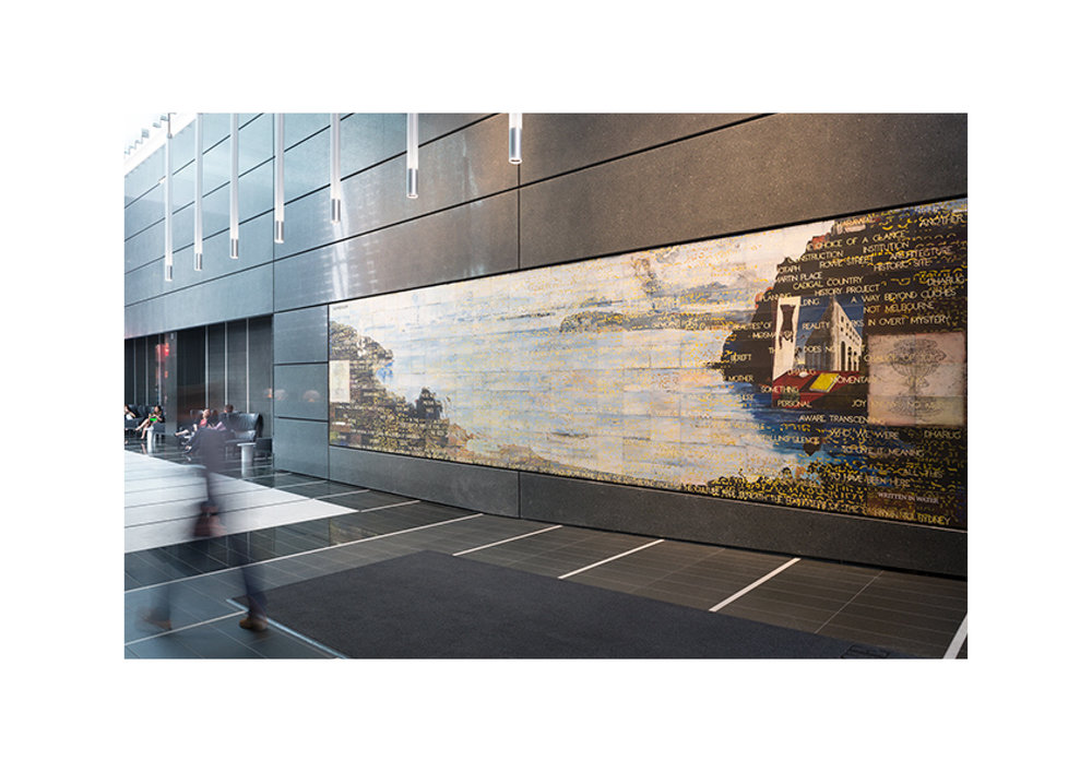 Imants Tillers   Written in Water (Hymn to Sydney) , 2014  Installation view synthetic polymer paint, gouache on 270 canvasboards, nos. 91939 - 92208 254 x 960 cm Collection: 5 Martin Place, Commonwealth Bank Building, Sydney