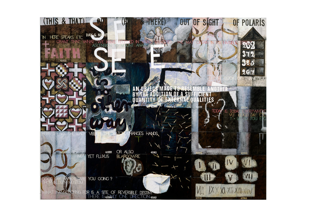 Imants Tillers   The Book of Thank You , 1996  oilstick, gouache, synthetic polymer paint on 120 canvasboards nos. 42847 - 42966 304.8 x 381 cm Private Collection
