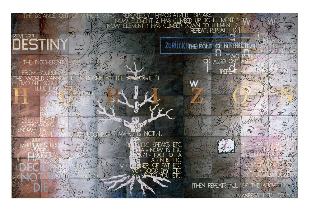 Imants Tillers   The incoherent river , 1999  synthetic polymer paint, gouache on 90 canvasboards nos. 61218 - 61307 228.6 x 355.6 cm
