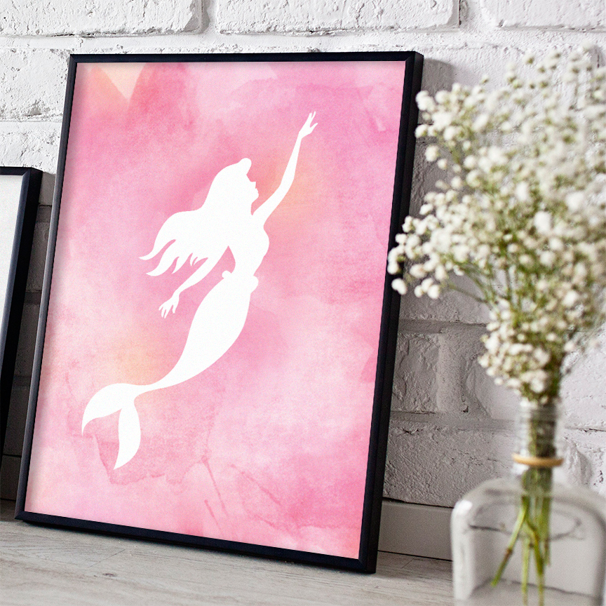 Pink Watercolor Mermaid Digital Print - Free Download  HERE
