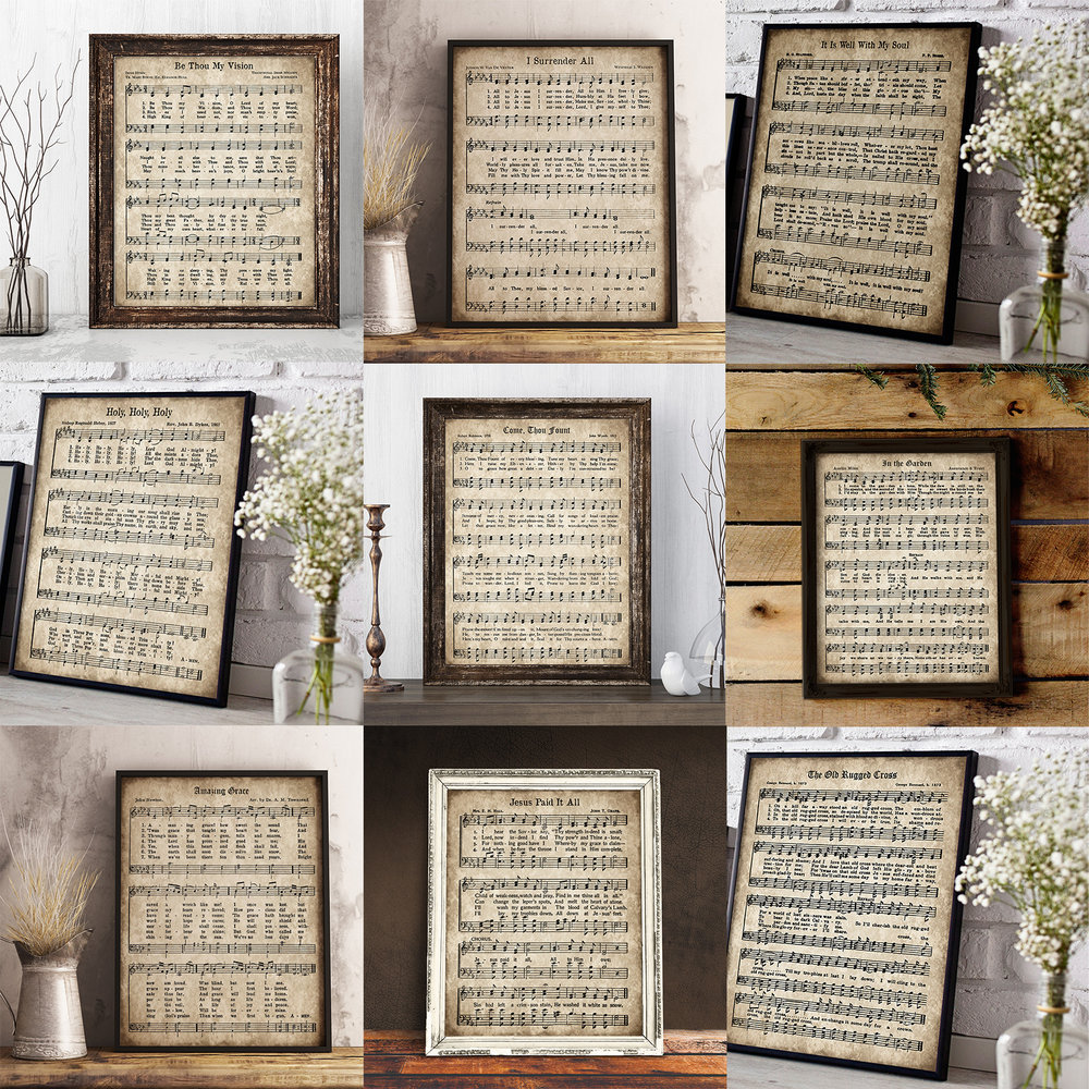 image about In the Garden Hymn Printable referred to as Enormous Common Hymn Print Package deal - Fastened of 12 Hymns Down the