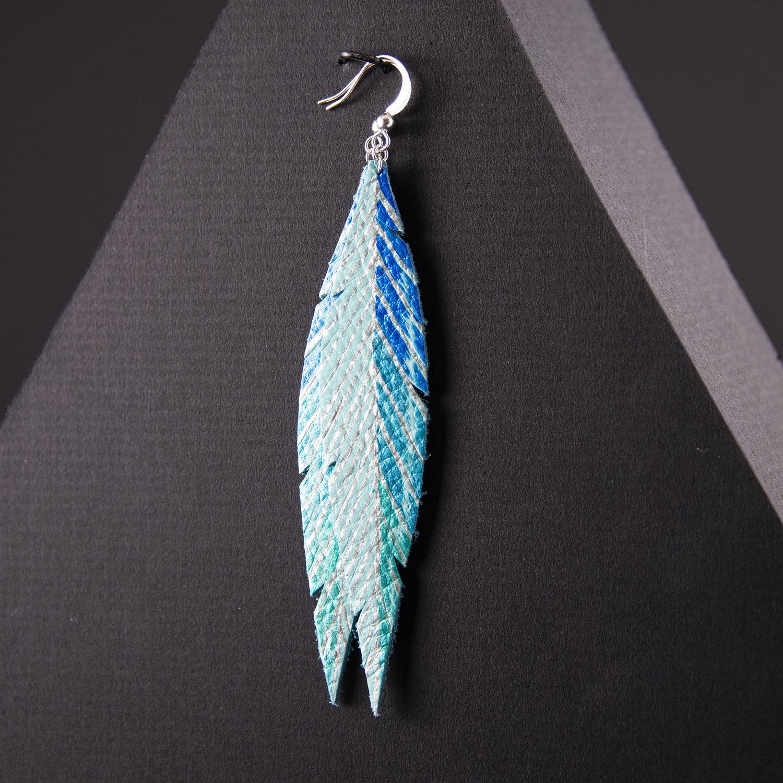 Aqua faux leather feather hoop earrings