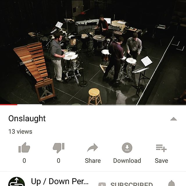 It's loud, it's in your face, it's everything you need from a percussion quartet.  Onslaught by Cy Miessler is now up on our YouTube page (link in our bio). Also, shout out to @schwobmusic and Dr. V for having us in last semester to play this piece for the percussion studio.  #percussion #percussionists #contemporary #classicalmusic #drums #goinghard #drumming