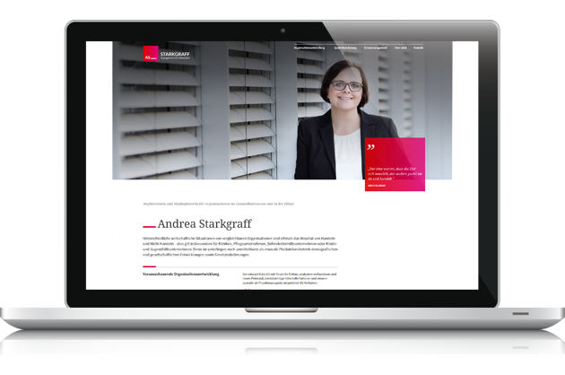 01/2017 Launch STARKGRAFF Management - Leitidee, Claim, Webtexte, Marketingplan by BONNINSKIWebdesign & Konzeption: Kathrin RolfsenWordpress-PM: Nicoletta ArpsFotos: Doreen Kühr