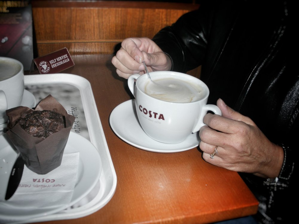Costa Coffee and Chocolate Muffin