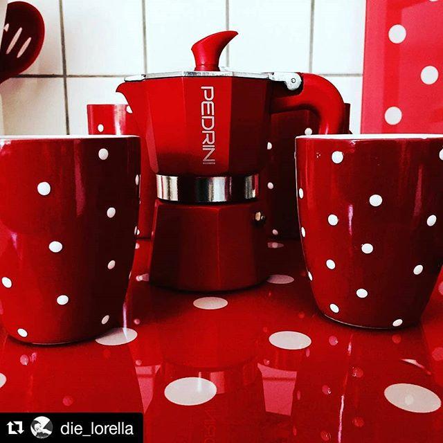 #Repost @die_lorella #pedrini #espresso #pedrinimoka #coffeeaddict #morningcoffee #red #redpassion #pois #polkadot #polkadots #coffee #caffè #cafe #caffettiera #moka #coffeemaker #breakfast