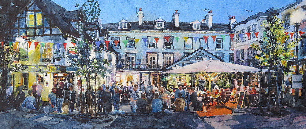 Late Summer On The Pantiles: 22x50cm