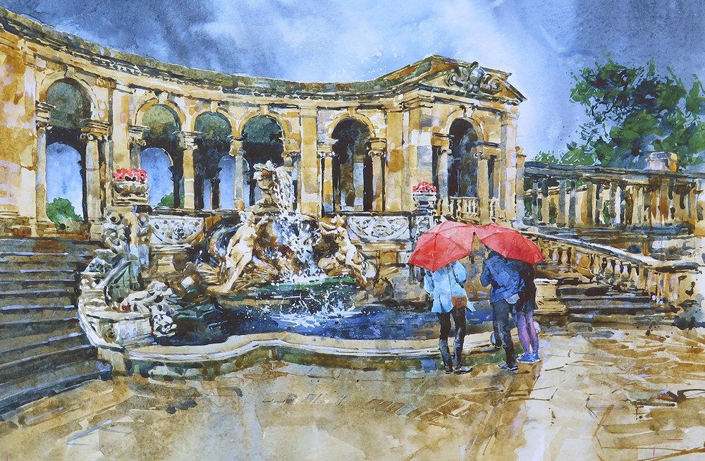 Nymphs Fountain, Hever Castle: 30x42cm