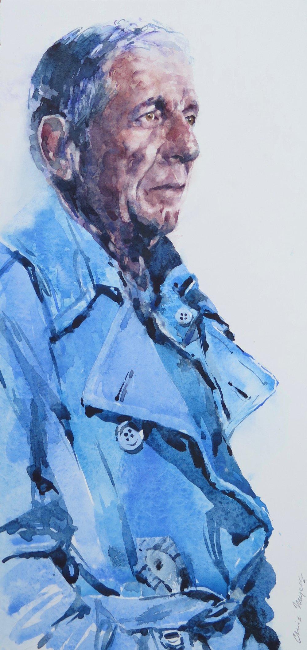 Blue Raincoat, Study: 39x18cm