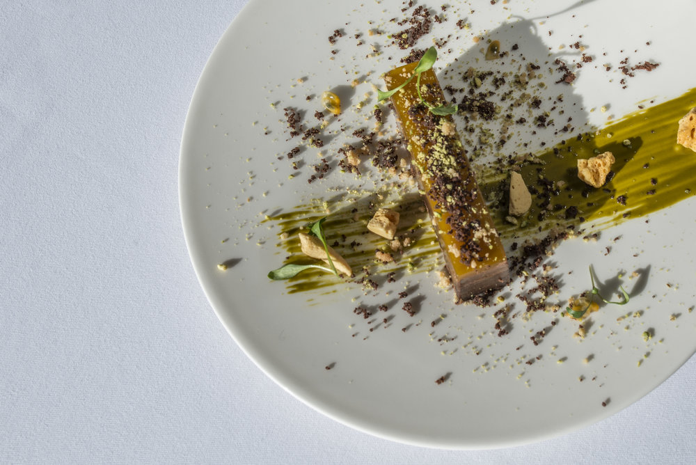 Chocolate and pistachio delice, passionfruit jelly & honeycomb.