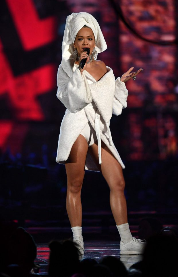 Rita, Are you sure? - The host of the EMAs went through over a dozen outfit changes during the show. Ora opened the show comically wearing a dressing gown and towel wrap.