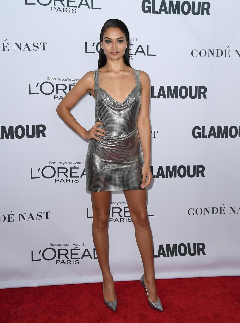Shine Shanina - This metallic dress look Shaik is strutting is so on trend right now.