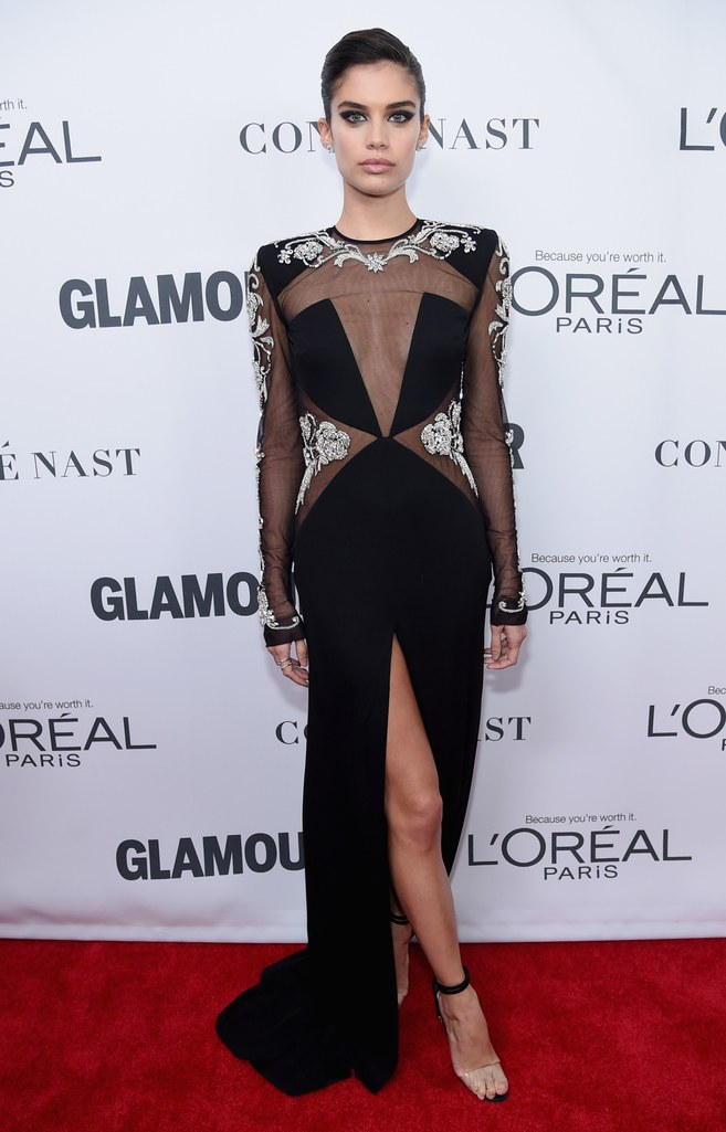 Chic Sampaio - The Portuguese Victoria's Secret Angel looks cool in this number. We love mesh and silver in a dress.