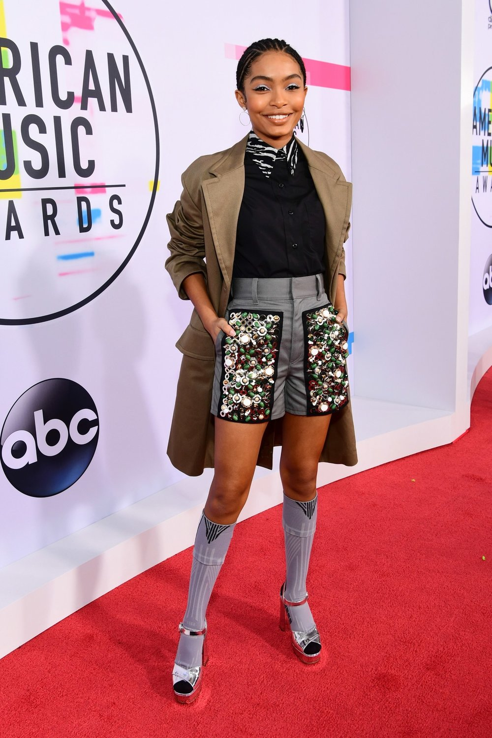 Prada Yara  - Grown-ish Star Yara Shahidi came to cheer on her on-screen mom, Tracee Ellis-Ross, who was hosting the show. Yara is no stranger to setting trends, and hid a message on the back of her coat.