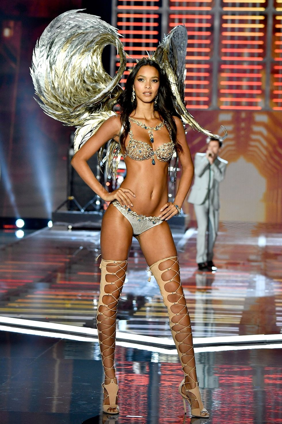 Lais Ribeiro - The moment everyone was waiting for. Lais showed off the amazing Champagne Midnight Fantasy Bra. The multi-million dollar piece of lingerie stunned as the Brazilian angel strutted with golden wings.
