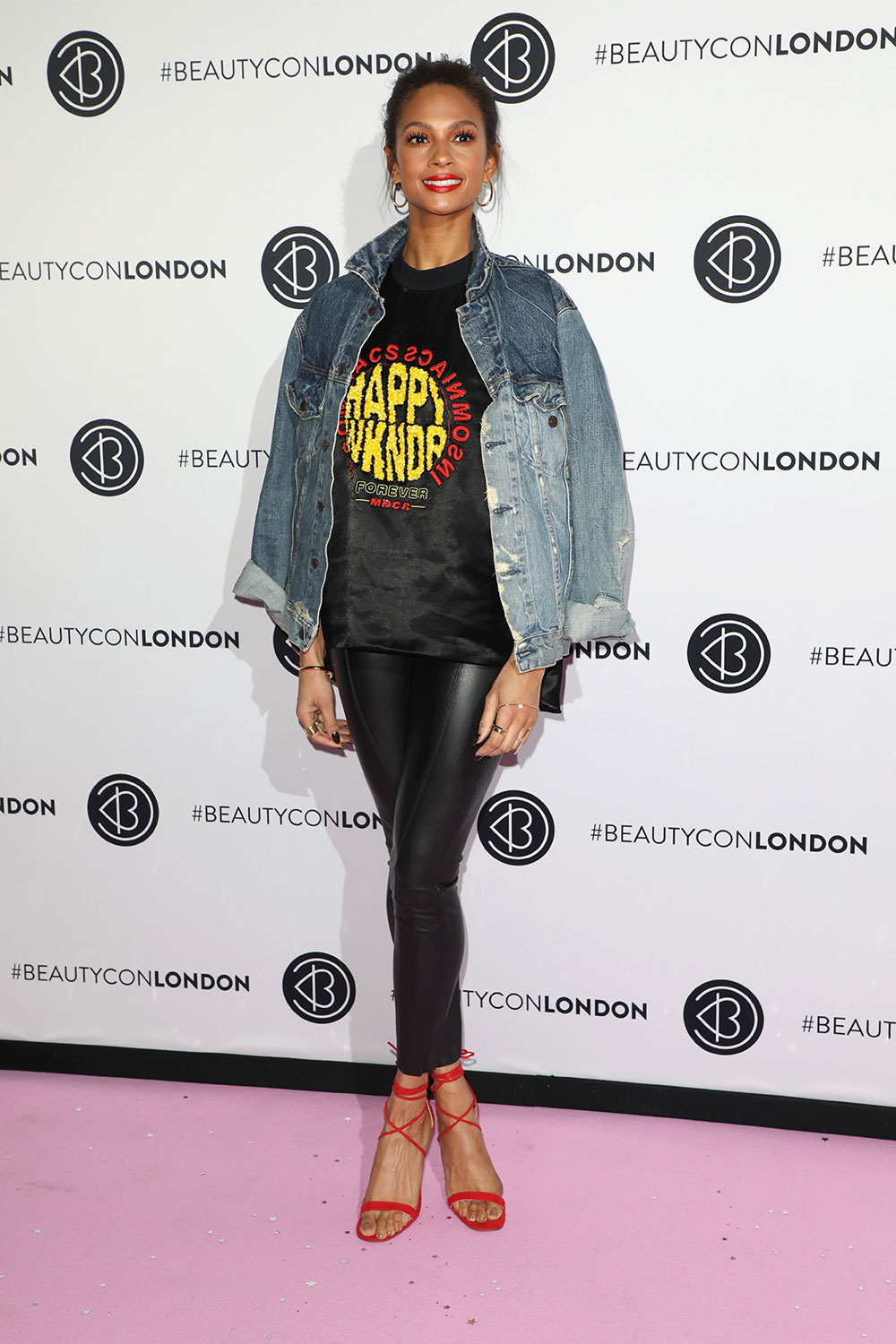 Alesha Dixon Looking Fly - The rapper and Britain's Got Talent judge MC'd the mainstage at Beautycon this year in this relaxed and chic look with a denim jacket.