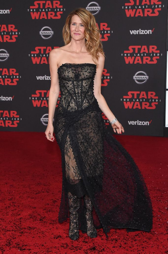Laura Dern - Making her debut in The Last Jedi as Amilyn Holdo, Laura wore this sheer lace black dress on nude. Even the shoes keep with the theme, feeling very Darth Vader-y.