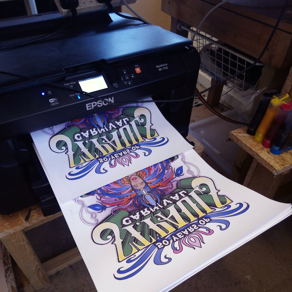 Step 2 - We use our cmyk printer to print the required number of sheets to be sublimated.