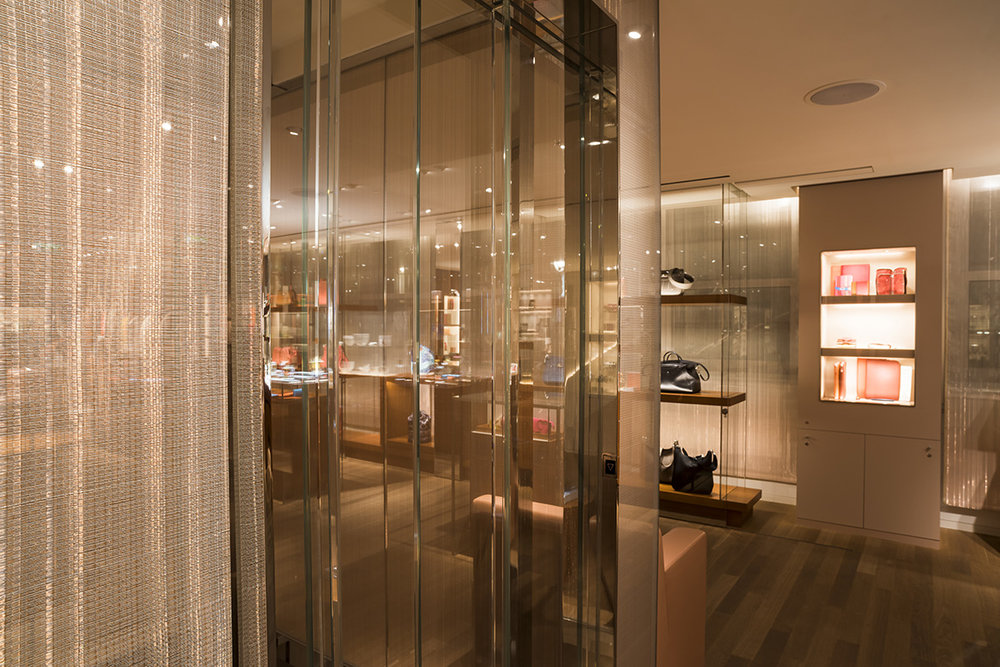 Sophie-Mallebranche-Hermes-Bons-Street-London-Glass-Lamination-Elevator-Fixed-Panels