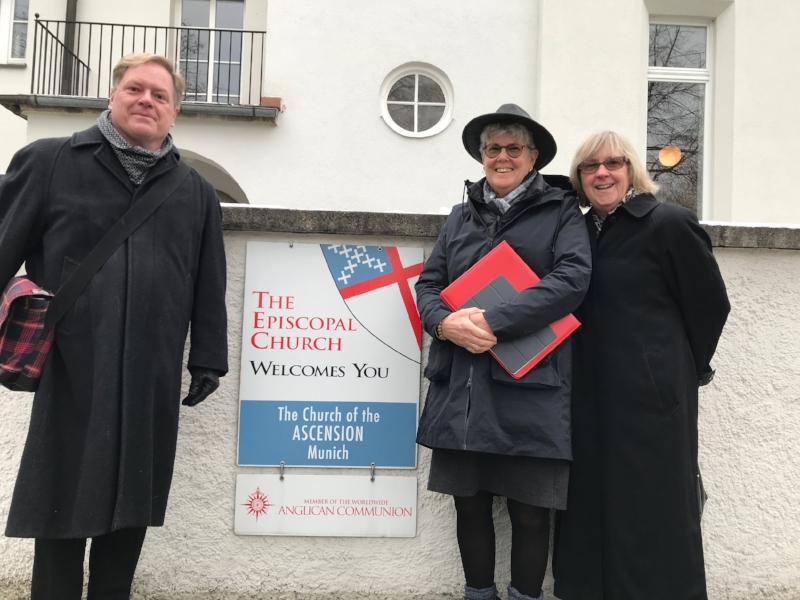 The Rev. Steven Smith, Tracey and Emily outside the Church of the Ascension, Munich