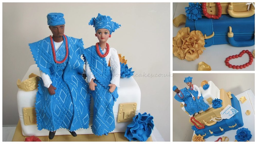 3 Tier Suitcase & Couple Cake Blue SC01