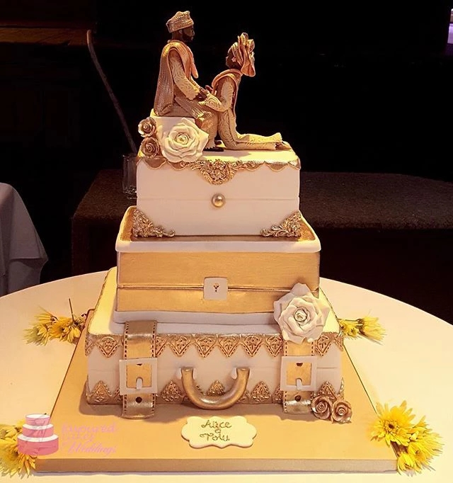 3 Tier Baroque African Wedding Engagement Cake SC97