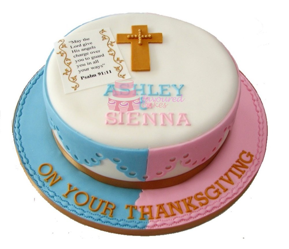 Cross & Scripture Christening Cake