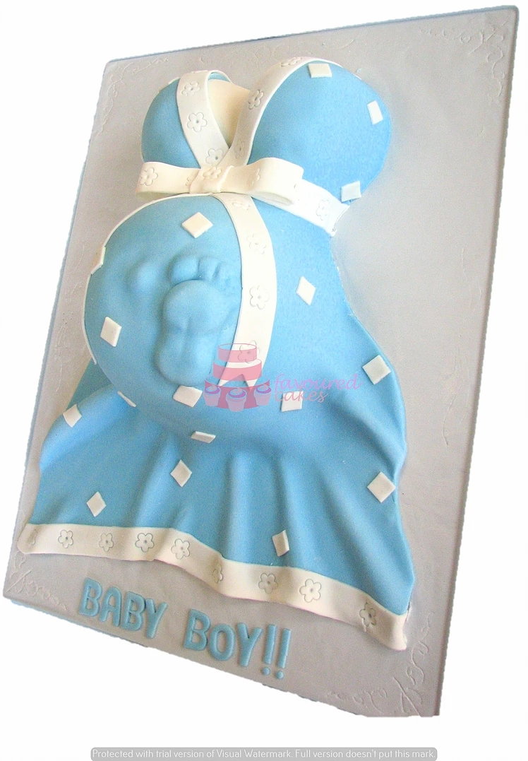 Baby Bump Cake Blue & White BS9