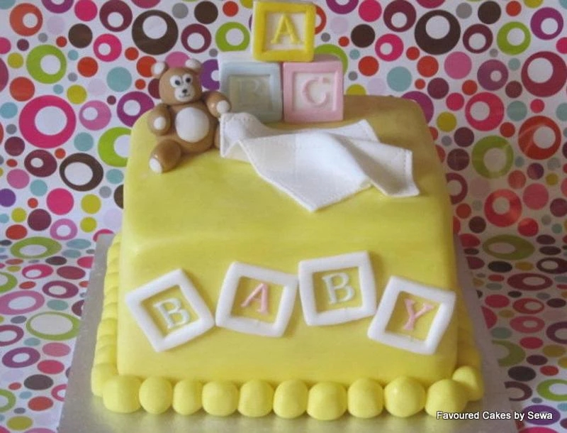 Teddy & Baby Blocks Cake BS19
