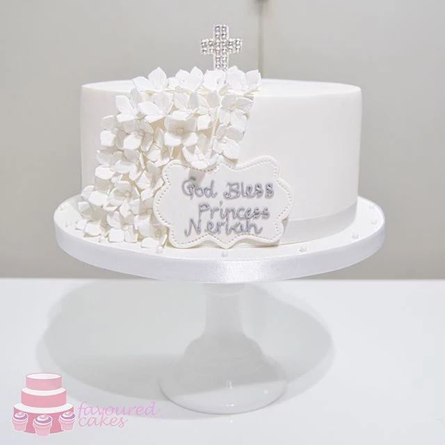 All White Christening Cake 1 Tier