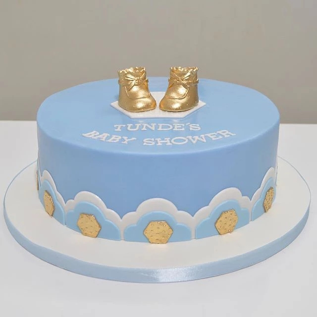 Gold Baby Booties Cake