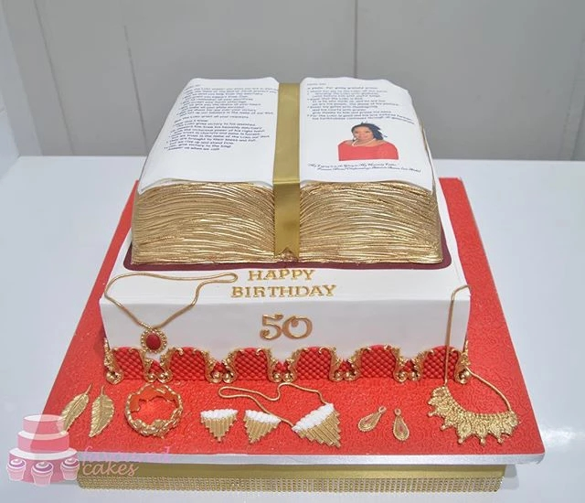 Open Bible On Base Cake