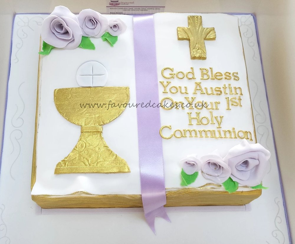 Holy Communion Bible Chalice Cake OBO4