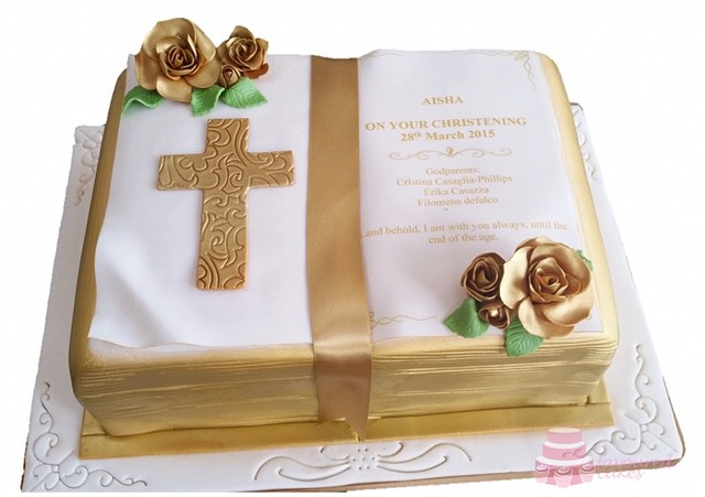 Open Bible Christening Cake OB05