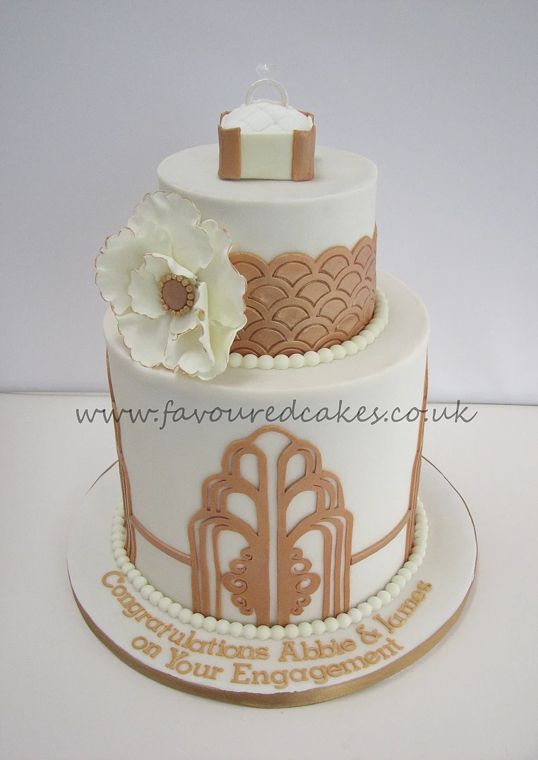 Gatsby/Art Deco Cake Engagement Cake