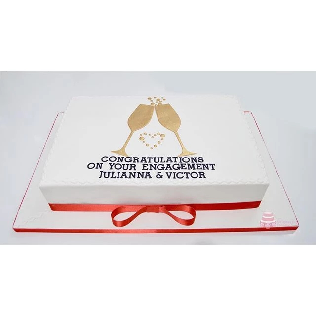 Champagne Glasses Engagement Cake