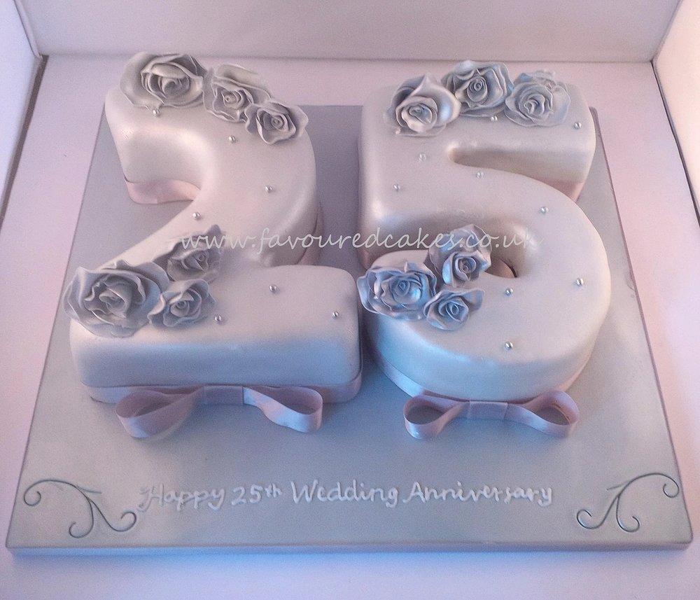 Silver 25 Wedding Anniversary Cake