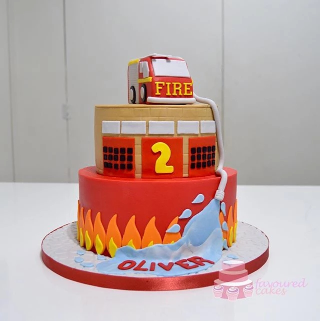 Fire Engine Tiered Cake