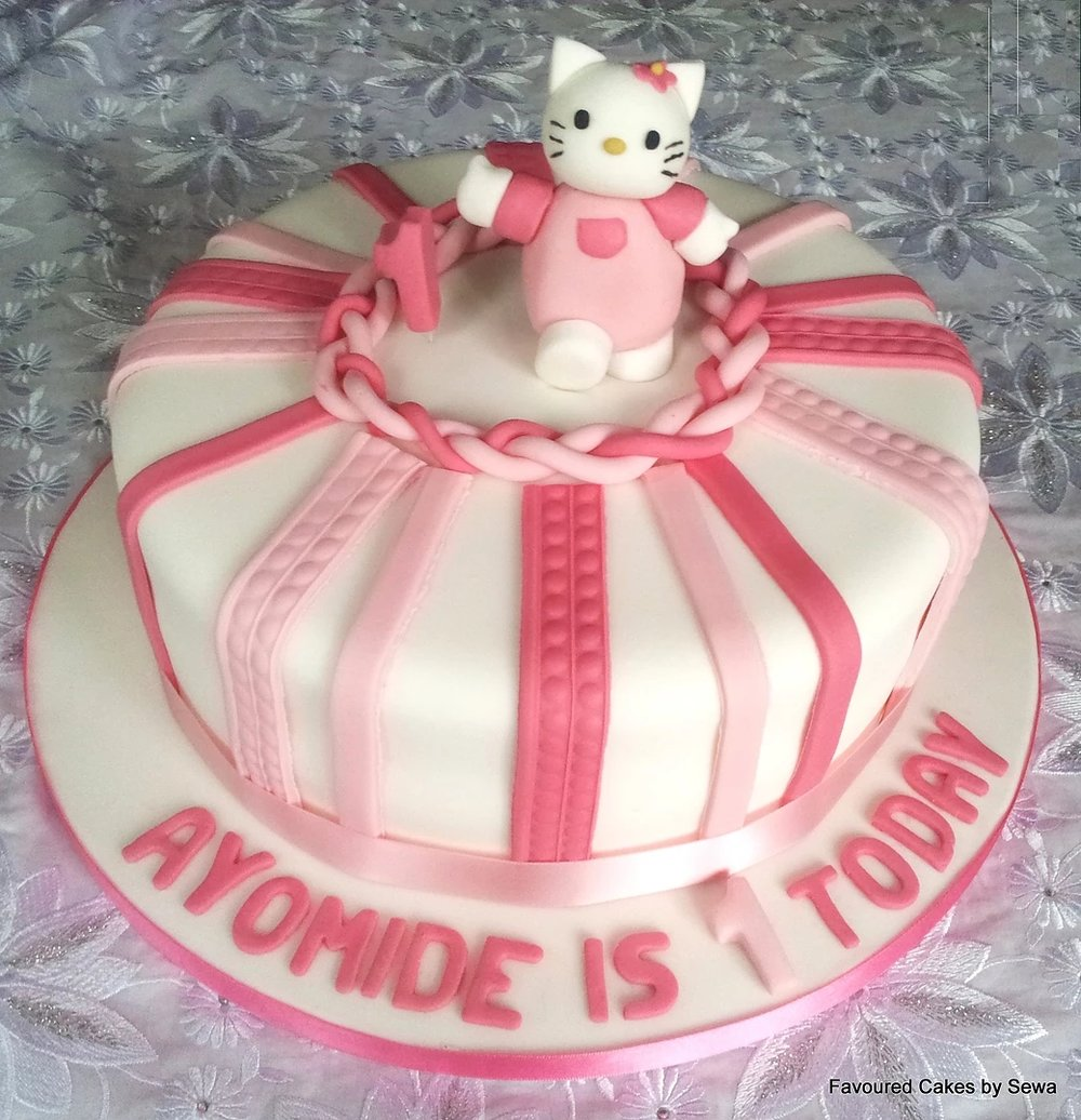 Hello Kitty Candy Stripe Cake HK06