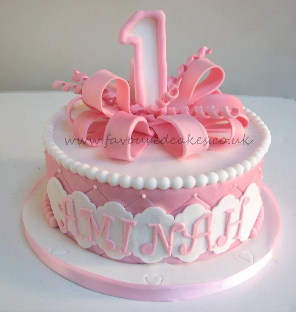 Pink Shimmer Loop Bow Cake BW01