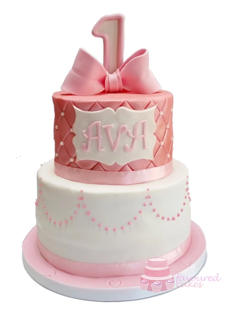 Pink Shimmer Bow Tiered Cake BW02