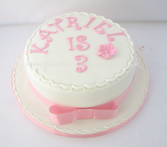 White & Pink Birthday Cake