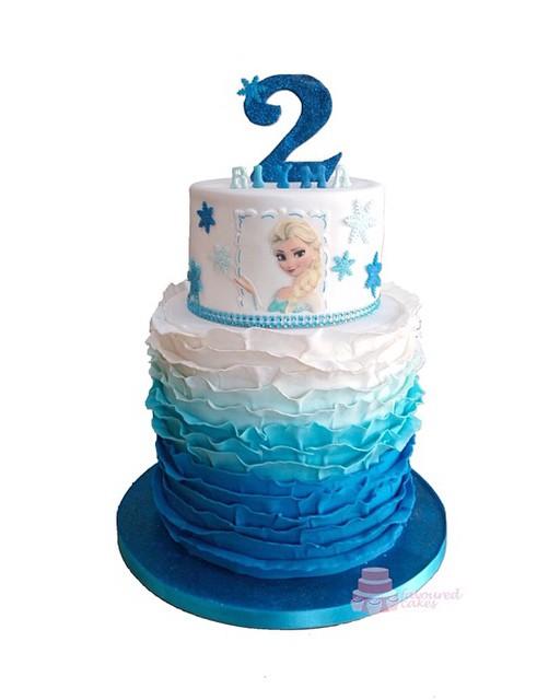 2 Tier Ruffle Elsa Frozen Cake