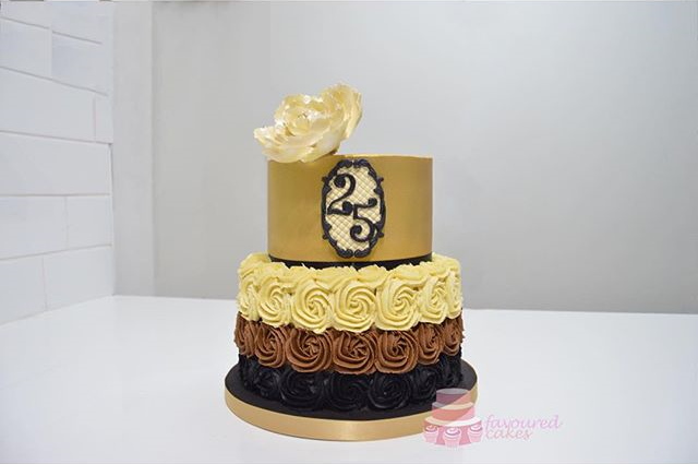 Gold Ombre Rosette Tiered
