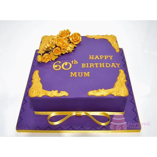 Purple Gold 60th Birthday Cake