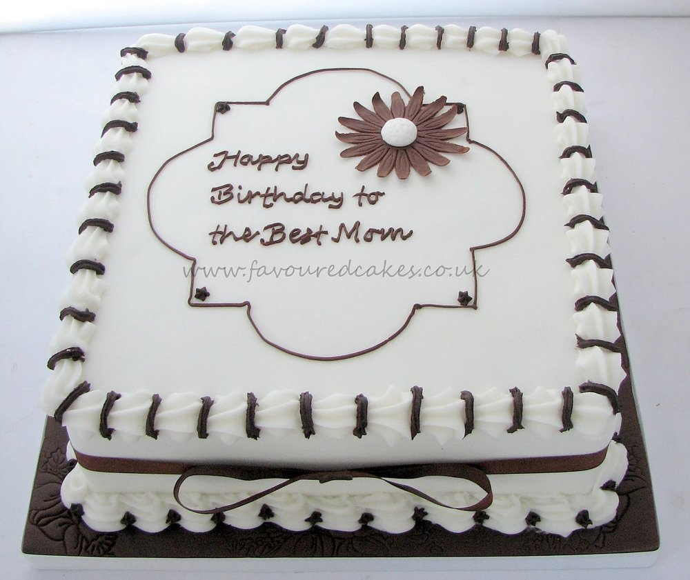 Brown Daisy Square Cake
